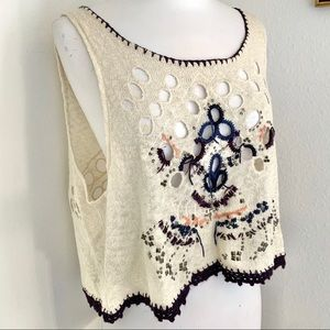 Free People Embroidered Eyelet Cropped Knit Tank